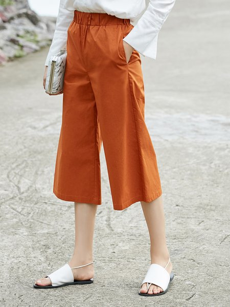 Cotton Simple Solid Wide Leg Pant