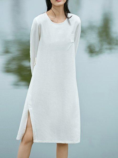Slit Long Sleeve Solid Viscose Midi Dress