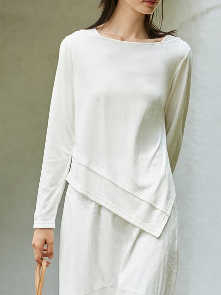 Asymmetric Solid Long Sleeve Crew Neck Top