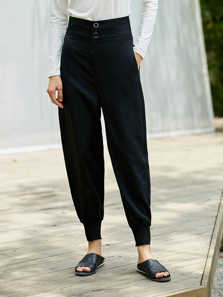 Black Buttoned Simple Wide Leg Pant