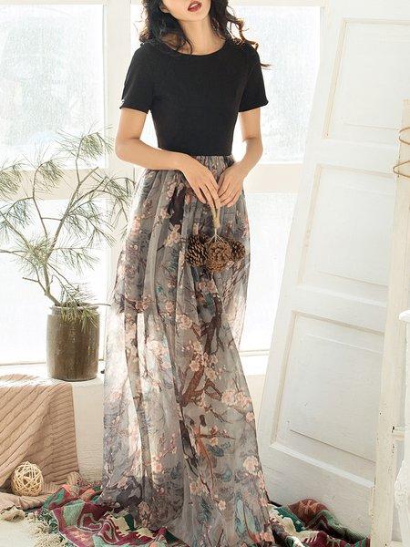Floral Elegant Paneled A-line Short Sleeve Maxi Dress