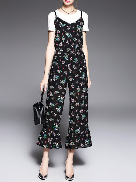 Black Crew Neck Printed Shorts Sleeve Floral Two Piece Top with Jumpsuits