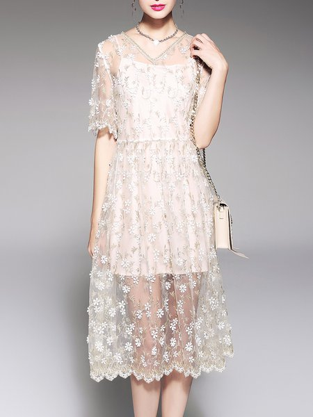 Golden See-through Look A-line Half Sleeve Dress With Cami