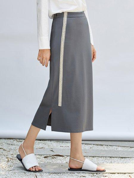 Gray Casual Slit H-line Midi Skirt