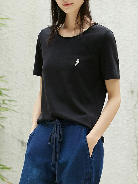 Cotton-blend Crew Neck Solid Casual Short Sleeve T-Shirt
