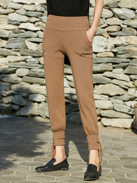 Camel Cotton-blend Casual Solid Skinny Leg Pants