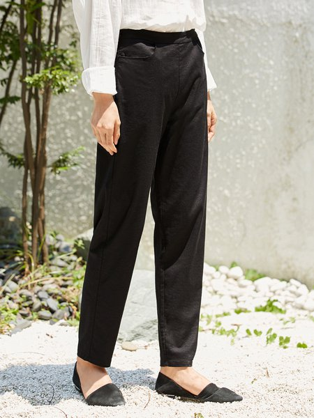 Solid Casual Straight Leg Pant