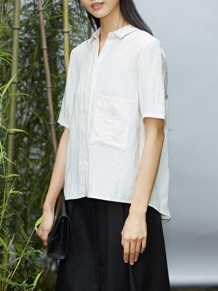 Pockets Shirt Collar Half Sleeve Cotton-blend Blouse