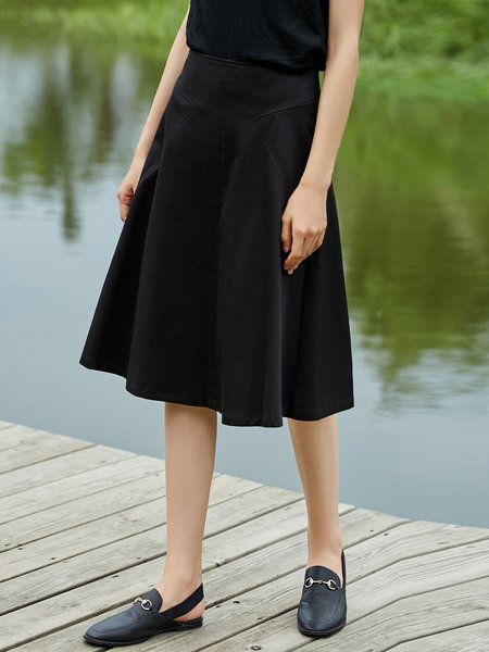 Plus Size A-line Solid Casual Cotton Midi Skirt