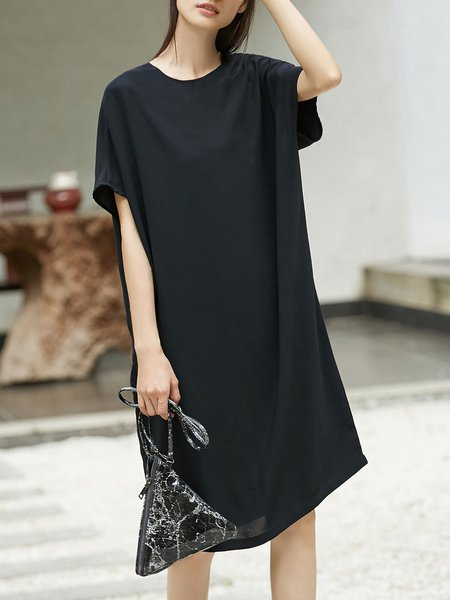 Two Piece Crew Neck Slit H-line Batwing Midi Dress With Cami