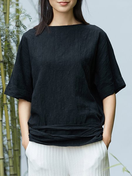 Crew Neck Solid Casual Half Sleeve T-Shirt