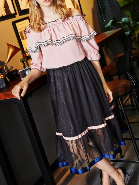 Two Piece Half Sleeve Off Shoulder Paneled  Casual Midi Dress