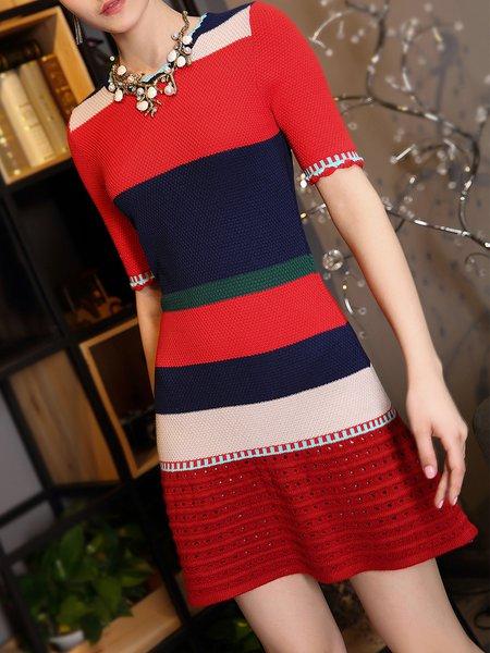Multicolor Cotton Short Sleeve Color-block A-line Mini Dress