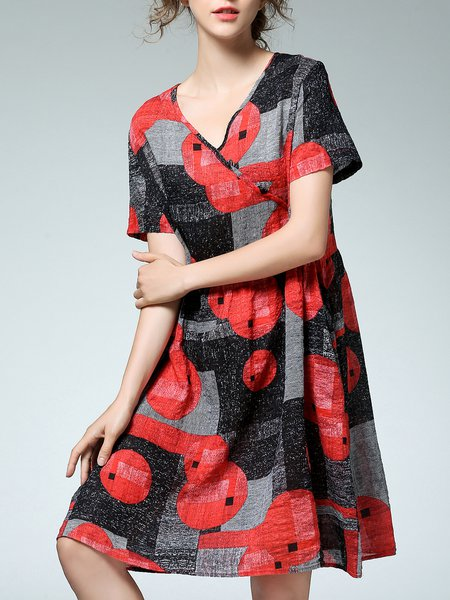 Multicolor Printed A-line Short Sleeve Midi Dress