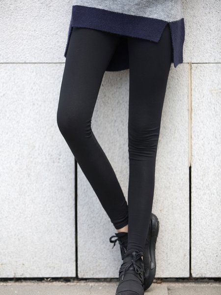 Black Solid Casual Cotton-blend Legging