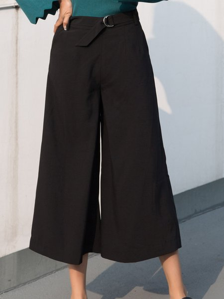 Black Solid Casual Culottes Pant