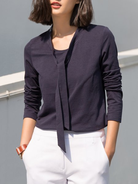 Navy Blue Solid Casual Stand Collar Polyester Top