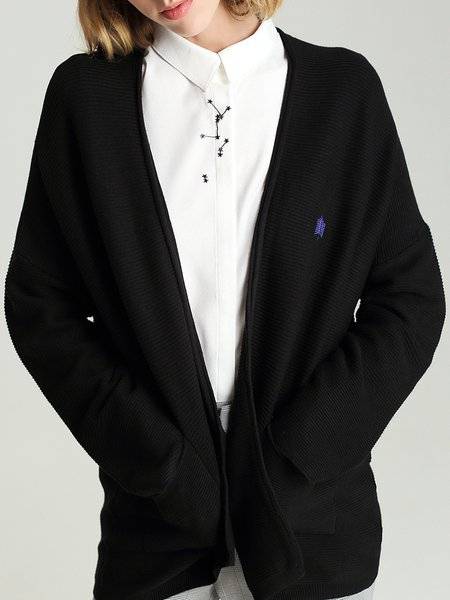 Black Long Sleeve Embroidered Cardigan