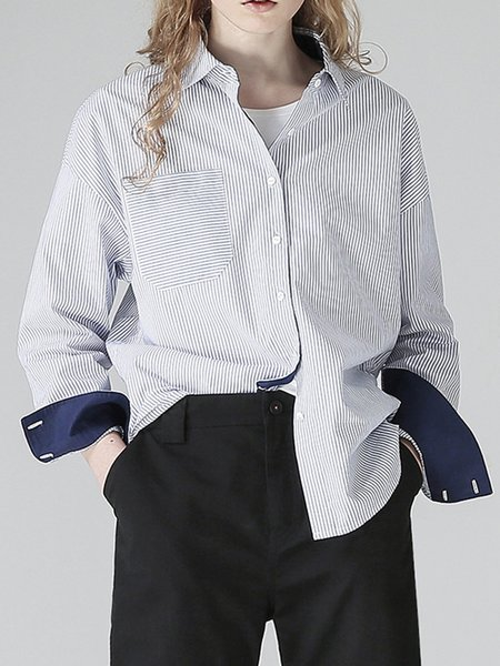 Pockets Casual Cotton Stripes Long Sleeve Blouse