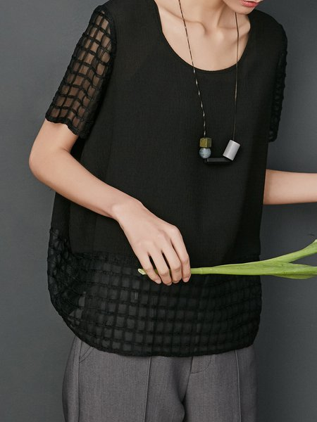 Crew Neck Short Sleeve See-through Look Casual Shift Tops