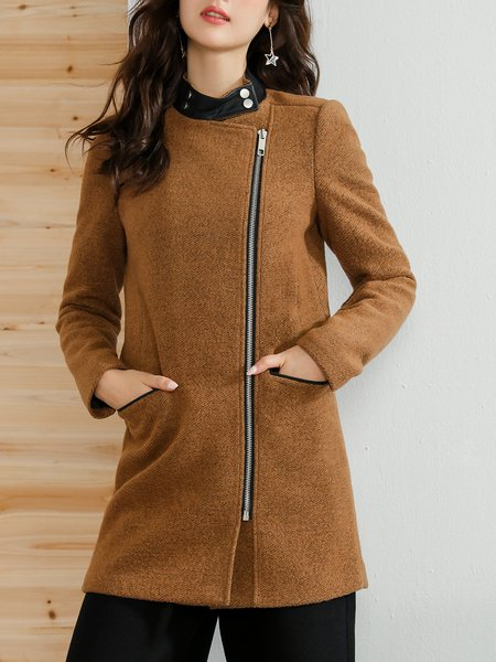 Long Sleeve Wool Blend Asymmetric Stand Collar Casual Coat