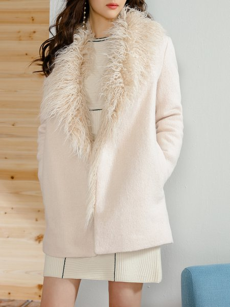 Long Sleeve Casual Solid Polyester Shearling Coat