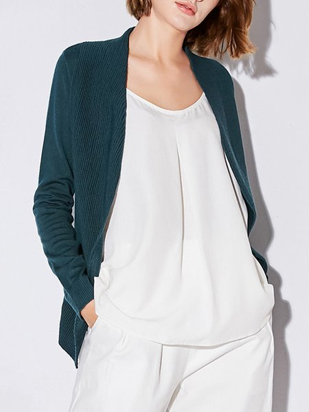 Solid Knitted Simple Long Sleeve Cardigan