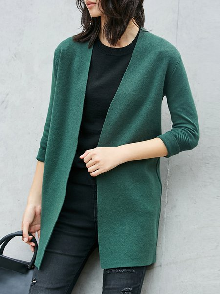 Knitted H-line 3/4 Sleeve Cardigan