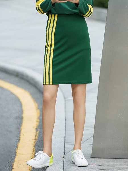 Spandex Simple Color-block Stripes Midi Skirt