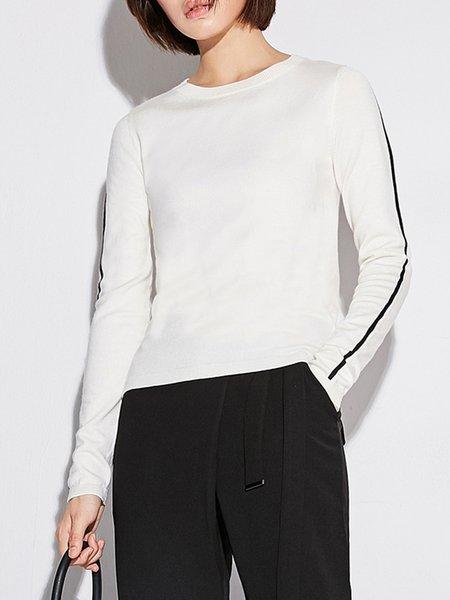 Crew Neck Simple Long Sleeve Sweater