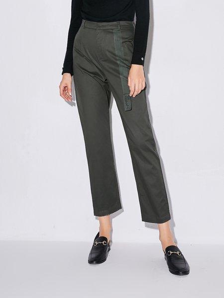 Simple Cotton-blend Straight Leg Pant