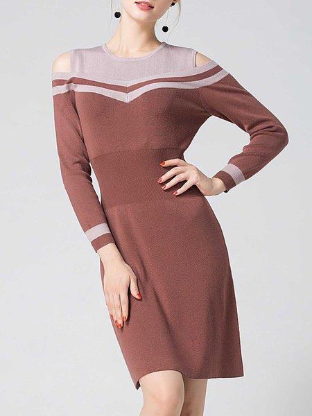 Rust Sheath Knitted Long Sleeve Cotton Mini Dress
