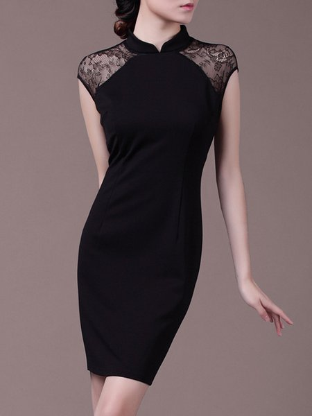 Elegant Stand Collar Lace Paneled Short Sleeve Solid Mini Dress