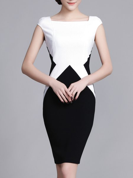 White-black Square Neck Sheath Short Sleeve Viscose Midi Dress