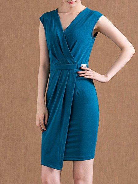 Asymmetric Folds Blue Sleeveless Sheath Surplice Neck Spandex Midi Dress
