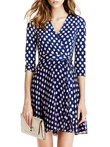 Polka Dots 3/4 Sleeve Casual Mini Dress