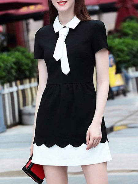 Black-white Cotton Paneled A-line Short Sleeve Mini Dress
