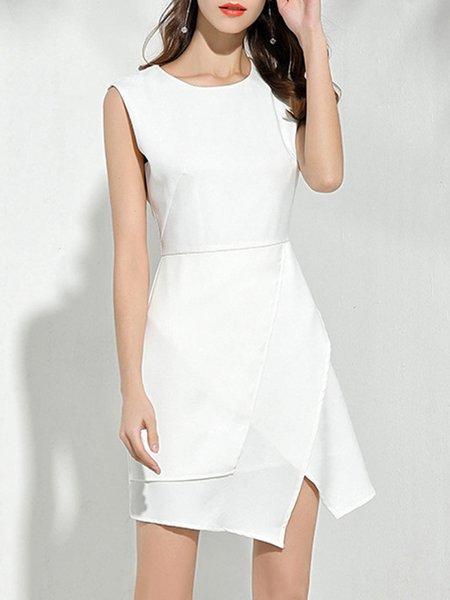 Solid Elegant Crew Neck Sleeveless Asymmetric Mini Dress