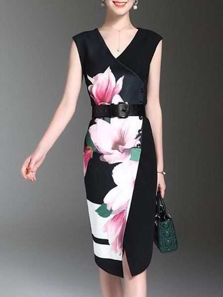 Black Elegant Crew Neck Floral Floral-print Mini Dress With Belt