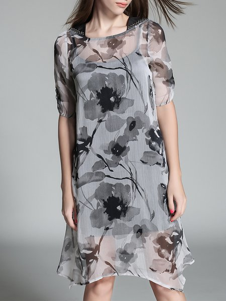 Plus Size Casual Half Sleeve H-line Floral Dress With Cami