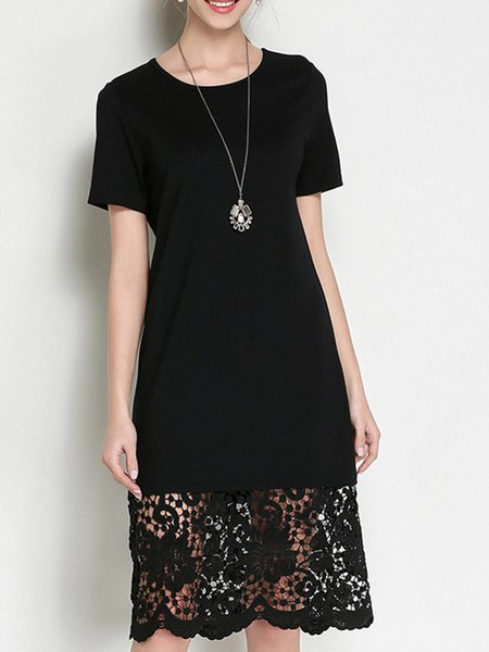 Paneled Guipure Lace Short Sleeve Crew Neck  Midi Dress