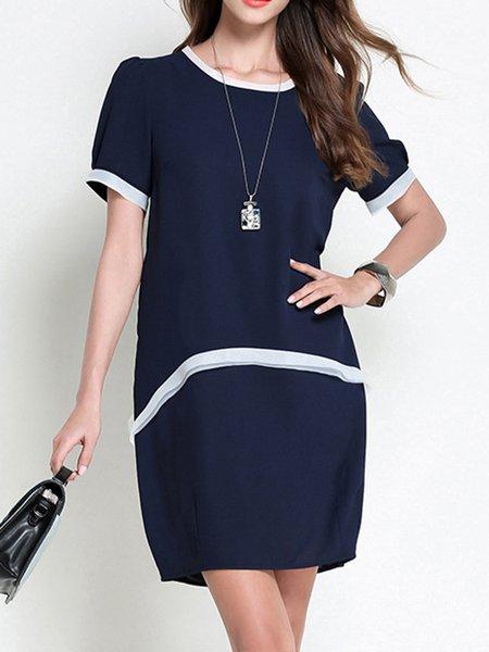 Royal Blue Shift  Color-block Casual Midi Dress