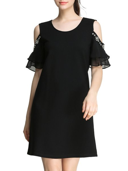 Black Cold Shoulder Solid Embellished Casual Mini Dress