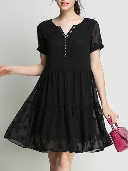 Black Casual Shift Polyester Beaded Mini Dress