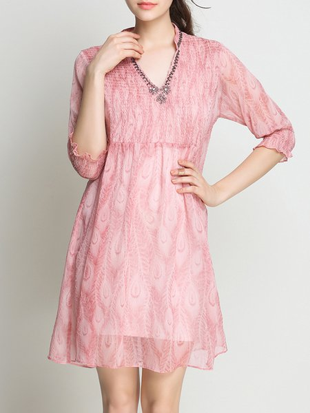 Pink 3/4 Sleeve V Neck H-line Dress With Cami