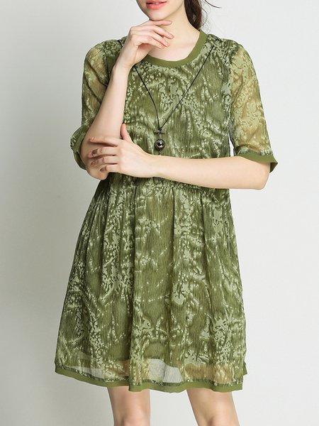 Half Sleeve Casual Solid Shift Printed Mini Dress