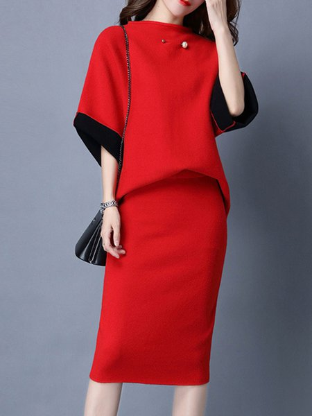 3/4 Sleeve Knitted Crew Neck Two Piece Top With Skirt