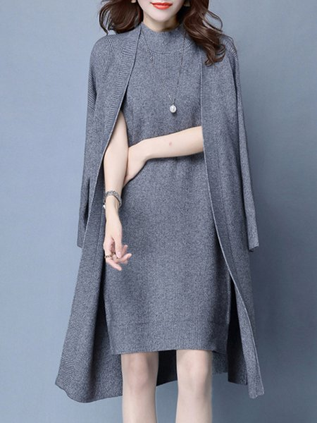 Knitted Solid 3/4 Sleeve Dress With Coat