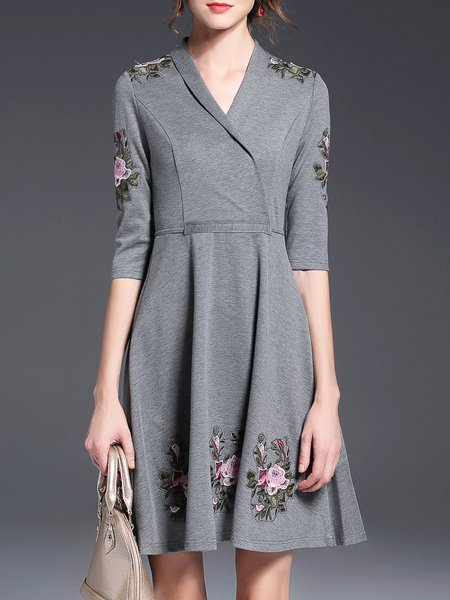Gray Floral-embroidered Spandex 3/4 Sleeve Midi Dress