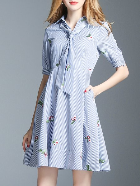 Blue Shorts Sleeve Floral-embroidered Stripes A-line Midi Dress